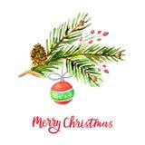 Предпосылка акварели с Рождеством Христовым с сосной разветвляет, конус, ягоды падуба, шарик рождества изолированный на белой пре бесплатная иллюстрация