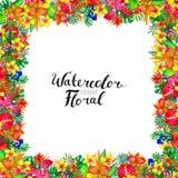 Предпосылка акварели с тропическими заводами и цветками стоковые фотографии rf