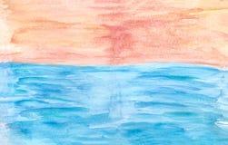 Предпосылка акварели щеток сини и апельсина, иллюстрация растра иллюстрация вектора