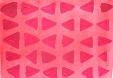 Предпосылка акварели яркая красная с темным - красные треугольники стоковое изображение rf