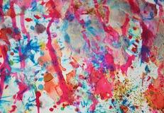 Предпосылка акварели waxy в розовых, фиолетовых, голубых, серых цветах Стоковые Фотографии RF