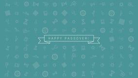 Предпосылка анимации дизайна праздника еврейской пасхи плоская с традиционными символами значка плана и английским текстом иллюстрация штока