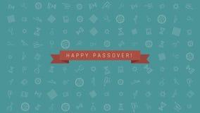 Предпосылка анимации дизайна праздника еврейской пасхи плоская с традиционными символами значка плана и английским текстом иллюстрация вектора