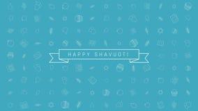 Предпосылка анимации дизайна праздника Shavuot плоская с традиционными символами значка плана и английским текстом иллюстрация штока