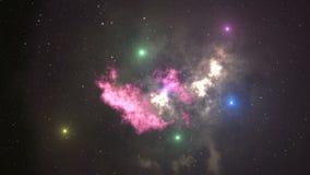 предпосылка анимации космоса 4K с межзвёздным облаком, звездами Млечный путь, галактика и межзвёздное облако График движения и ba сток-видео