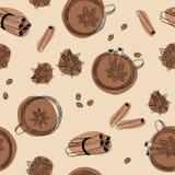 Предпосылка анисовки чая, циннамона и звезды безшовная Стоковые Изображения RF