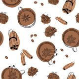 Предпосылка анисовки чая, циннамона и звезды безшовная Стоковое Фото