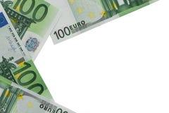 Предпосылка банкнот в номинальной стоимости 100 евро P стоковые фото