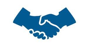 Предпосылка белизны значка рукопожатия голубая плоская