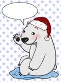 Предпосылка белизны иллюстрации милого чертежа шаржа и говорить иллюстрации чертежа шляпы рождества полярного медведя бесплатная иллюстрация