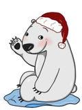 Предпосылка белизны иллюстрации милого чертежа шаржа и говорить иллюстрации чертежа шляпы рождества полярного медведя иллюстрация штока