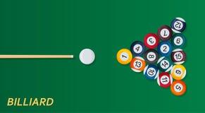 Предпосылка биллиарда или snoker Хороший шаблон дизайна для знамени, карточки, рогульки Бильярдный стол, шарики и ручка сигнала Стоковое Фото