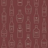 Предпосылка бутылок спирта картина безшовная Стоковые Изображения