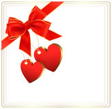 Предпосылка Валентайн с красным смычком подарка Стоковые Изображения RF