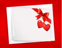 Предпосылка Валентайн с красным смычком подарка Стоковое фото RF