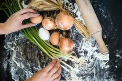 Предпосылка варить органическую handmade еду стоковое изображение