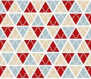 Предпосылка вектора абстрактная, безшовная картина Рождество красит текстуру треугольников Мозаика красного серебряного золота ге Стоковая Фотография
