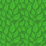 Предпосылка вектора безшовная с зелеными листьями Стоковые Изображения