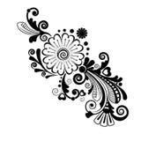 Предпосылка вектора винтажная флористическая черная белизна картины Стоковые Изображения RF