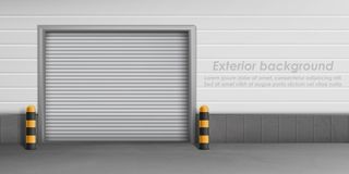 Предпосылка вектора внешняя с закрытой дверью гаража стоковые изображения rf