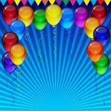 Предпосылка вектора дня рождения - красочные праздничные воздушные шары, confetti, летание лент для карты торжеств в голубой пред иллюстрация штока