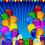 Предпосылка вектора дня рождения - красочные праздничные воздушные шары, confetti, летание лент для карты торжеств иллюстрация штока