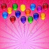 Предпосылка вектора дня рождения - красочные праздничные воздушные шары, confetti, летание лент для карты торжеств в розовой пред иллюстрация штока