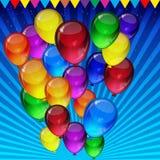 Предпосылка вектора дня рождения - красочные праздничные воздушные шары, confetti, летание лент для карты торжеств в голубой пред иллюстрация вектора