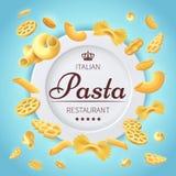 Предпосылка вектора еды кухни итальянского ресторана макаронных изделий традиционная Стоковые Фотографии RF
