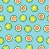 Предпосылка вектора картины лимона цитруса безшовная Стоковое Изображение RF