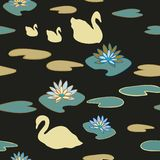 Предпосылка вектора картины повторения озера лебед безшовная иллюстрация вектора