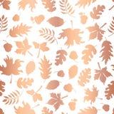 Предпосылка вектора розовых силуэтов лист осени сусального золота безшовная Медные сияющие абстрактные формы листьев падения на б бесплатная иллюстрация