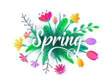 Предпосылка вектора слова весны с плоскими минимальными цветками, листьями изолированными на белизне Флористический графический д иллюстрация вектора