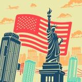 Предпосылка вектора статуи свободы Стоковая Фотография RF