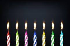 Предпосылка вектора с крупным планом реалистической различной свечи торта горения парафина воска вечеринки по случаю дня рождения Стоковые Фотографии RF