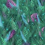 Предпосылка вектора с тропическими листьями в волшебных цветах со светлыми вспышками иллюстрация вектора