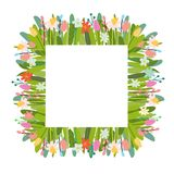 Предпосылка вектора флористическая с элементами и цветками пасхи иллюстрация штока