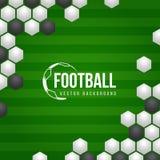 Предпосылка вектора футбола футбола с белым и черным абстрактным шариком текстуры и зеленым футболом хранила дизайн вектора предп Стоковая Фотография RF