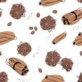 Предпосылка вектора циннамона и анисовки безшовная Специи для кофе Стоковое Изображение RF