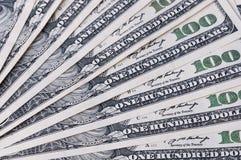 Предпосылка вентилятора счетов 100 американских долларов Стоковая Фотография RF
