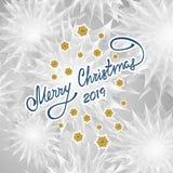 Предпосылка веселого рождества абстрактная с флористическими снежинками надписи текстуры иллюстрация вектора