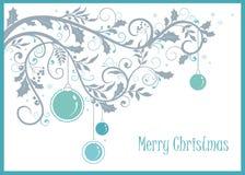 Предпосылка веселого рождества и Нового Года с декоративными орнаментом и шариками стоковое изображение