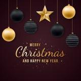Предпосылка веселого рождества и Нового Года с сияющими золотыми и черными шариками, текстом и confetti иллюстрация вектора