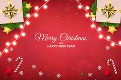 Предпосылка веселого рождества со светящими гирляндами, подарочными коробками, бесплатная иллюстрация