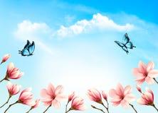 Предпосылка весны природы с красивыми ветвями магнолии Стоковое Фото