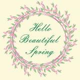Предпосылка весны рамки здравствуйте! с цветками Стоковые Фото