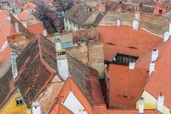 Предпосылка вида с воздуха, средневековый город Сибиу Стоковые Изображения