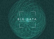 Предпосылка визуализирования Технология для больших данных, искусственного интеллекта, глубоко учить и квантового вычисления иллюстрация вектора