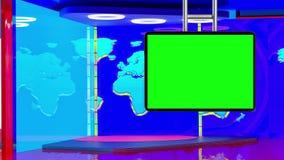Предпосылка виртуальной студии информационной передачи ТВ установленная иллюстрация вектора