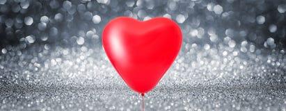 Предпосылка воздушного шара сердца влюбленности сияющая Стоковое Фото